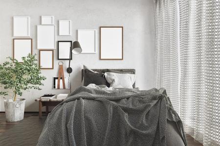 Habitación 3D Prestados Con El Esquema De Color Neutro, Amplio Marco ...