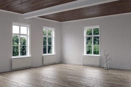 Empty bright room with wood floor and ceiling and three windows overlooking a garden in a corner view. 3d rendering Stock Photo
