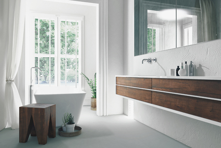 Modern bright sunny white bathroom interior with wall mounted double vanity and mirror and freestanding bathtub in front of a large window. 3d rendering Reklamní fotografie - 79251226