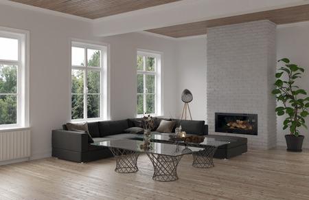 Accogliente angolo soggiorno con divano modulare, tavolino moderno in vetro, radiatori e camino con tre finestre che si affacciano su un giardino. Rendering 3D