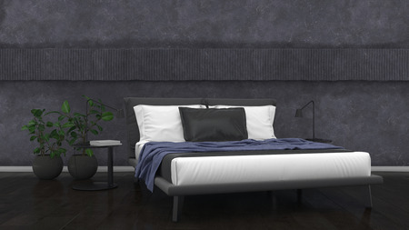 interior walls: Modern minimalist monochrome bedroom interior with dark grey walls and floor, potted plants and a simple double divan style bed with pillow and a throw rug in a 3d rendering