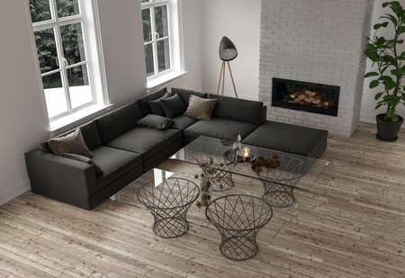 Minimalist decor in a modern living room with a large dark modular corner couch and glass topped coffee tables in front of a fire insert and two bright windows, high angle. 3d rendering