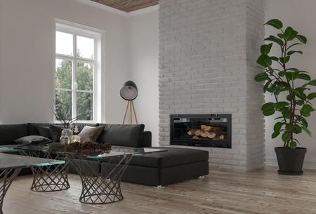 Angolo accogliente in una moderna sala o salone con un grande divano modulare davanti a un camino con pianta in vaso e finestra luminosa. Rendering 3D
