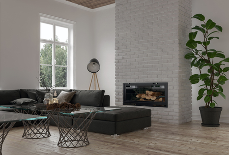 Cozy corner in a modern lounge or den with a large modular sofa in front of a fireplace with potted plant and bright window. 3d rendering Standard-Bild