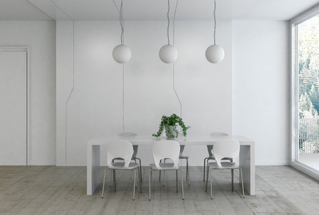 round chairs: Elegant minimalist monochromatic white home interior with a modern dining table and chairs below three round ceiling lights with bright daylight from a large window. 3d rendering