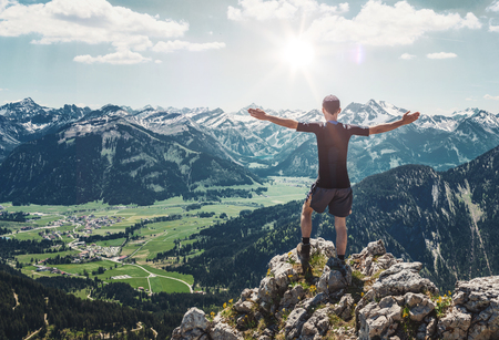 geological formation: Man Enjoying View of Mountains in Allgau Alps, Germany