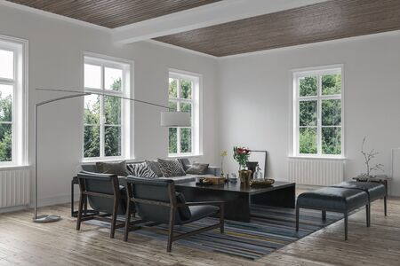 furniture design: Scandinavian style living room interior with couch in a cottage. 3d Rendering.