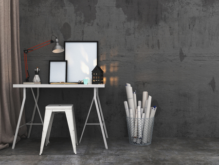 study: Simple writing table with blank picture frames and a burning lantern alongside a small stool and wire basket with rolled documents or designs against a textured grey wall. 3d rendering