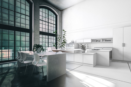 industry: Split toned image of a modern kitchen interior in a loft conversion giving the impression of evening and daylight around the central corner. 3d rendering Stock Photo