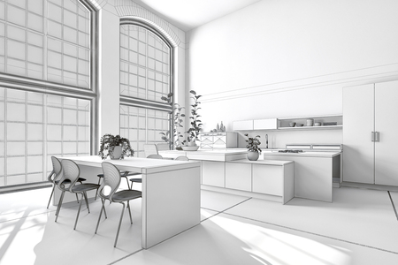 drawing room: Modern sunny bright white kitchen diner with fitted cabinets and appliances and a stylish dining suite. 3d rendering