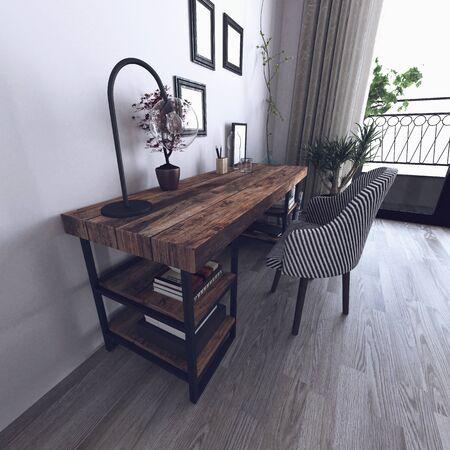prestige: Scandinavian hipster style interior with wooden desk. 3d Rendering