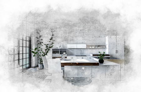 furniture design: Artistic textured monochrome painting of a modern kitchen with fitted cabinets and bar counter surrounded by a light vignette. 3d rendering