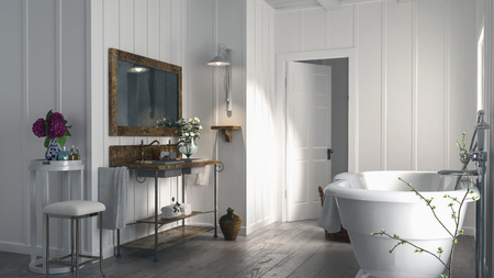 wood panelled: Stylish modern bathroom in a wood panelled house with a rustic old wooden floor, oval bathtub and simple vanity with mirror lit by sunlight. 3d rendering Stock Photo