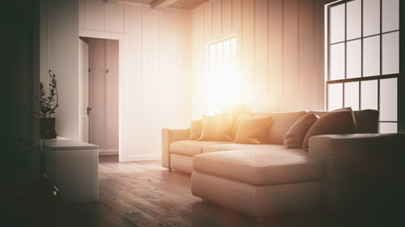 Bright glow of the setting sun in a home interior giving a warm ambiance to a small cozy living room with large sofa. 3d rendering Banque d'images - 128868366