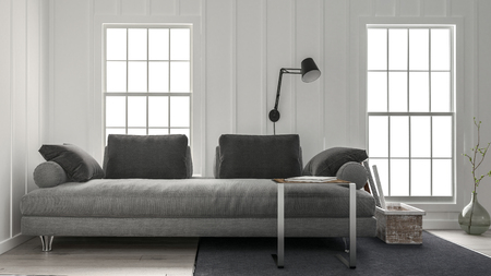 living room interior: Wide grey couch in minimalist design living room with black lamp on the wall between two bright windows. 3d rendering