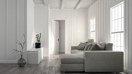 Minimalist Bright White Living Room Interior With Wood Panelled Wall And A  Large Comfortable Settee In