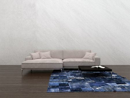 luxury apartment: Large generic modular couch in a minimalist living room interior with a small blue rug on the wooden floor and textured neutral wall with copy space. 3d rendering