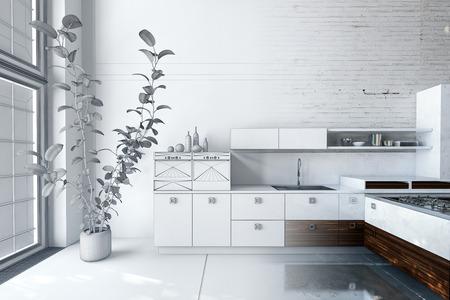 Modern wit designer luxe keuken interieur met ingerichte apparatuur en kasten in een loft conversie met grote lichte ramen en een stenen muur. 3D-rendering Stockfoto