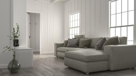 Confortevole interno accogliente soggiorno con un grande divano modulare di fronte a due finestre luminose con pareti bianche rivestite in legno. Rendering 3D Archivio Fotografico