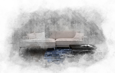 Grunge vintage style textured painting of a large comfortable modular sofa with brushstrokes and watercolor effect. 3d rendering