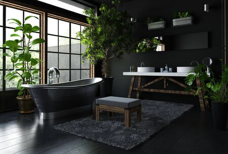 upmarket: Interior of fancy bathroom in black color, with shiny metal freestanding bath near wide window, with lots of green indoor plants. 3d Rendering. Stock Photo
