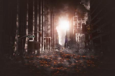 Rue vide de la ville incendiée, des flammes sur le sol et des explosions de fumée au loin. Vue apocalyptique du centre-ville en tant que concept d'affiche de film catastrophe