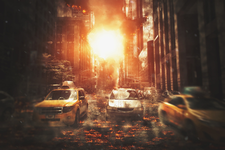 huge: Huge blast of fire in city downtown with cars stuck in the street full of burning flames and smoke - apocalyptic movie poster concept