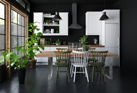 Spacious kitchen dark interior concept, with dining table, black walls and wooden floor, white furniture and green indoor plants. 3d Rendering.