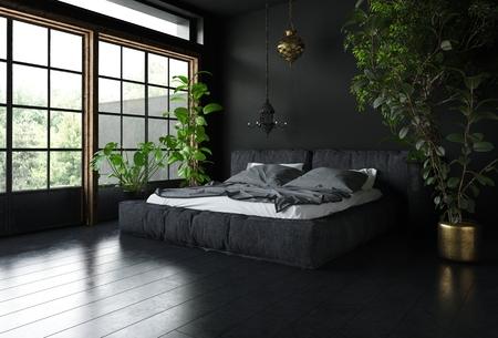 어두운 실내 디자인, 거대한 넓은 창문 및 키가 큰 실내 식물이있는 검은 색 스타일의 침실. 3 차원 렌더링