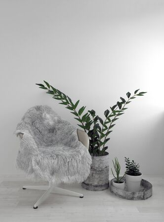 Office armchair covered with grey fur, in minimalist design white interior with potted plants on the floor. 3d Rendering.