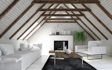 Zolder woonkamer in minimalistisch interieur met witte bank, open haard en salontafel. 3D-weergave