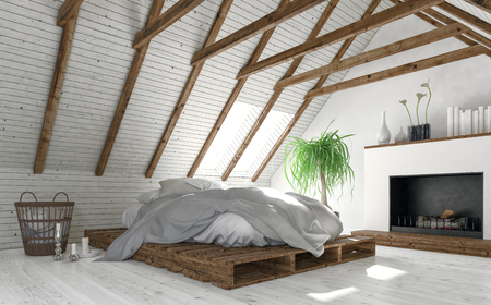 Concept of attic bedroom with white walls minimalist interior design, low bed of wooden trays and modern fireplace. 3d rendering