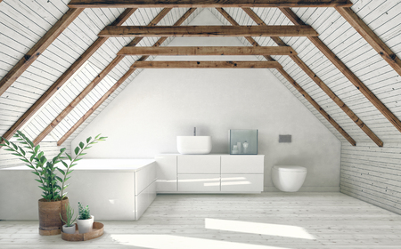 Modern bathroom with white attic walls, wooden framework and roof window. Minimalist interior design concept. 3d rendering Фото со стока