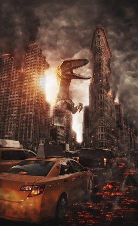 Monster film poster concept with giant dinosaur-like creature crushing Flat Iron building in Manhattan, New York. Yellow taxi cab stuck in traffic with lava effect or flames on the ground