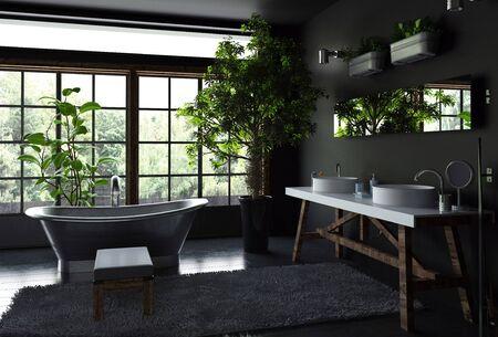 Ruim badkamer interieurconcept met zwarte muren en vloer, bont tapijt in de buurt van vrijstaand metalen bad tegen lichte brede ramen en veel groene binnenplanten. 3D-rendering. Stockfoto