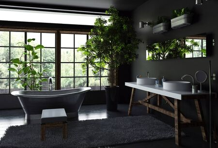 luxury room: Spacious bathroom interior concept with black walls and floor, furry rug near freestanding metal bath against bright wide windows and lots of green indoor plants. 3d Rendering.
