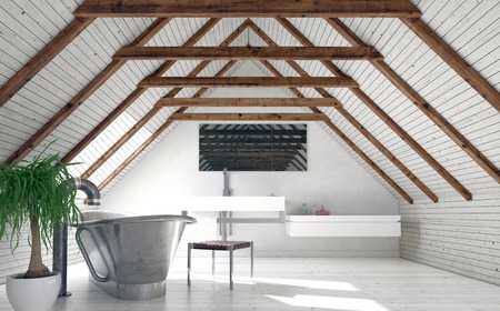 rafters: Modern monochromatic white loft bathroom in a converted attic with a stylish boat-shaped tub and wall-mounted vanity below a mirror in the pitch of the roof. 3d rendering
