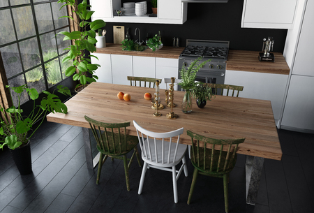 floorboards: Dining table with wooden surface and chairs in modern kitchen viewed from high angle. Wide bright window, black floor and potted indoor plants. 3d Rendering. Stock Photo