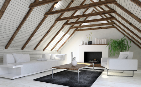 Cozy monochromatic white living room or den in a converted attic or loft with wood cladding on the sloping pitch of the roof and a fireplace at the end. 3d rendering Archivio Fotografico