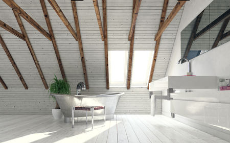 rafters: Vintage metal bath in attic bathroom designed in minimalist style - low angle view against bright roof window. 3d rendering Stock Photo