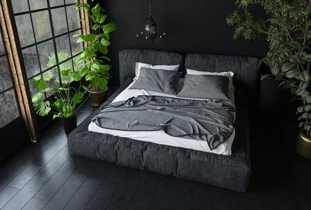 Lit King Size En Couleurs Sombres Dans Une Chambre à Coucher Avec ...