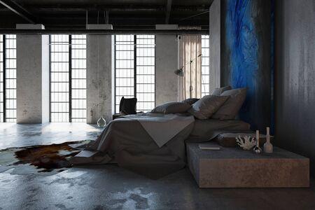 Concept of loft interior design bedroom with concrete floor, huge floor to ceiling windows and wide bed with grey linens. 3d Rendering.