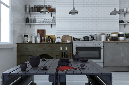 laden: Modern black dining table in an open plan kitchen with simple cabinets and appliances on a white brick wall laden with assorted pans, pans and utensils. 3d Rendering. Stock Photo