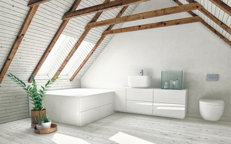 Modern bathroom in attic room with roof framework visible, white walls, bright roof window and indoor plants. 3d rendering Stock fotó