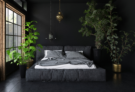 Wide bed in dark room with black walls and floor, tall potted plants and big window - interior design concept. 3d rendering Фото со стока