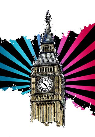 Modern Abstract Design London Big Ben illustration, isolated on white Stock Photo