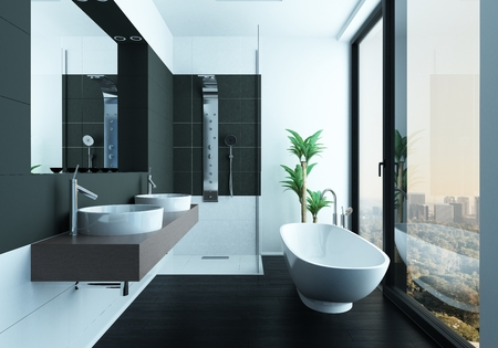 Bathtub in clean modern bathroom with scenic view Stok Fotoğraf