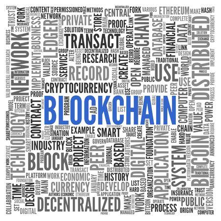 Blockchain。単語の雲。
