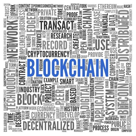 Blockchain. Word cloud. Фото со стока - 83337462