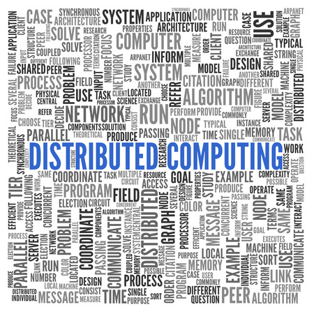 word: Distributed Computing. Word cloud. Stock Photo